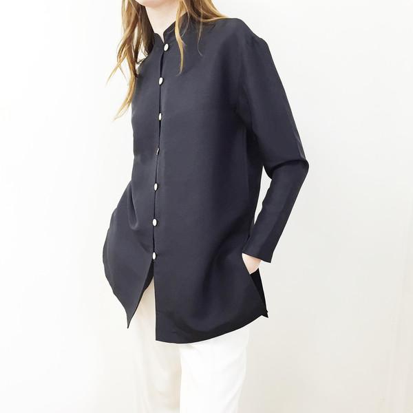 Johan Vintage Navy Silk Structured Jacket