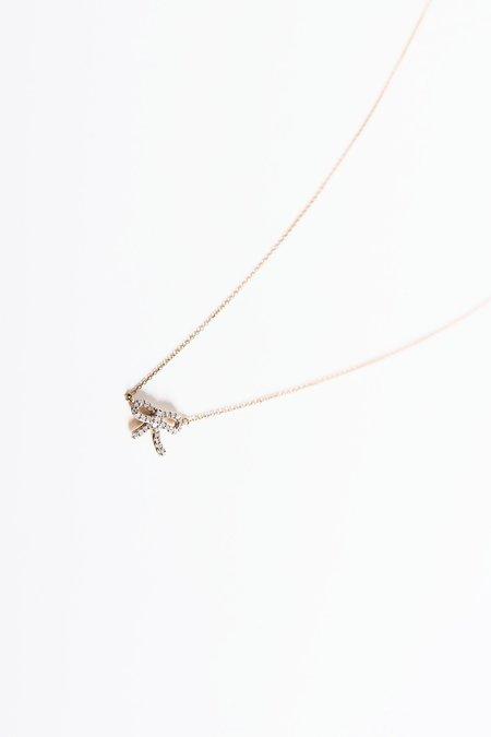 Adina Reyter Tiny Pave Bow Necklace - Yellow Gold