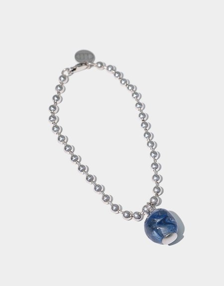 Cled Ball Chain Bracelet - Blue Marble/Sterling Silver