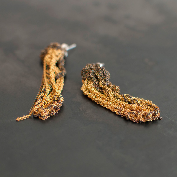 Arielle De Pinto 2-Tone Drip Earrings Gold/Burnt Gold - SOLD OUT