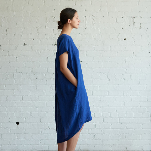 Black Crane Pleated Cocoon Dress Royal - SOLD OUT