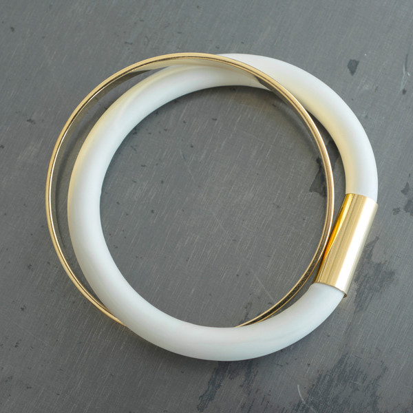 Faux/Real Bread and Butter Bracelet Gold with White - SOLD OUT