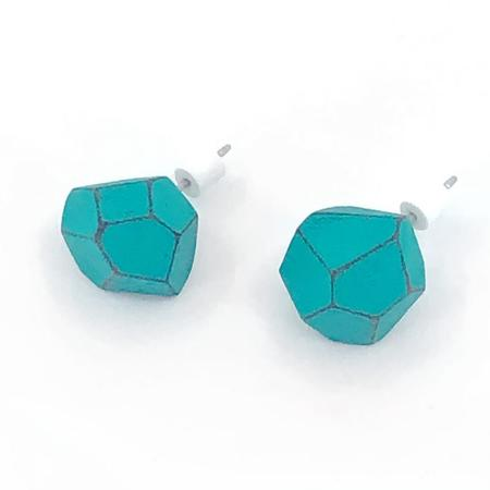 Danny Hart Design Faceted Wood Studs - Teal