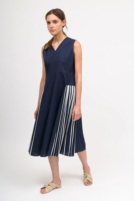 Bodice Pleated Dress - Navy/White