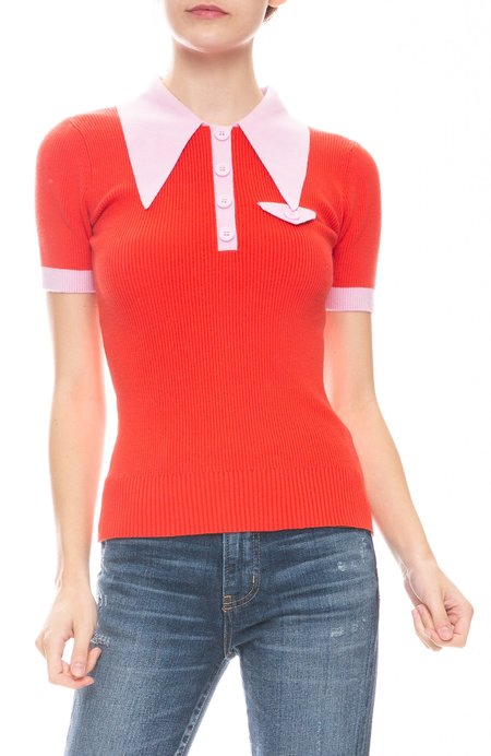 JOOSTRICOT Polo With Contrast Trims - Fire Poppy/Wild Rose