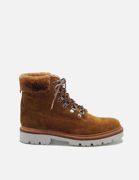 Grenson Brooke Derby Hiker Suede Boot - Rum Brown