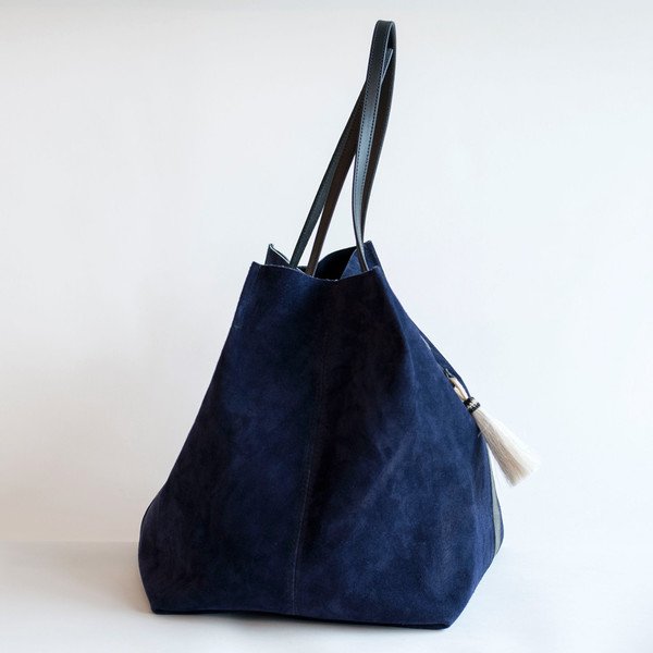 Kempton & Co Suede Stripe Leather Tote Navy/Black