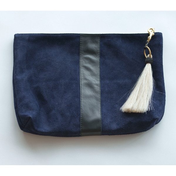 Kempton & Co Suede Tassel Clutch Navy