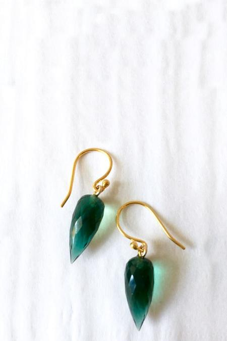 Percent Jewelry Faceted Topaz Drop Earring - Green