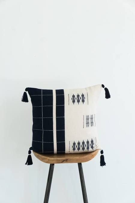 Karu Nagaland Cushion - Midnight/Ivory