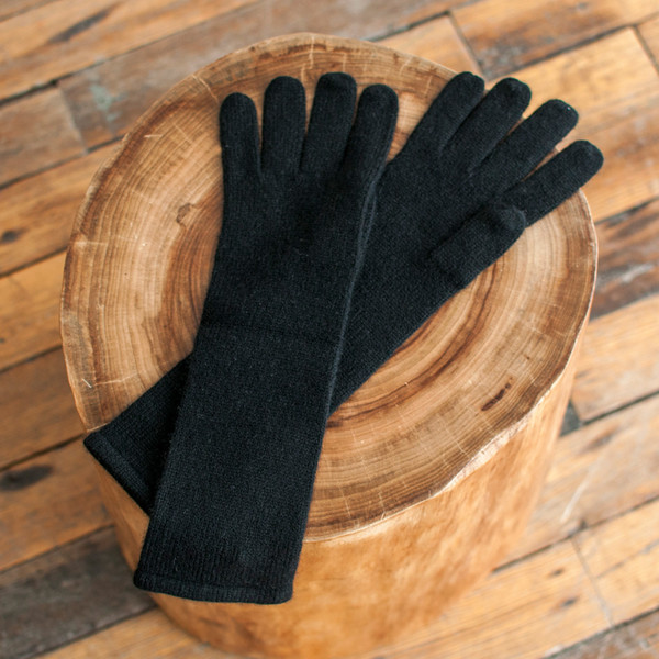 Ryan Roche Long Gloves Black Cashmere - SOLD OUT