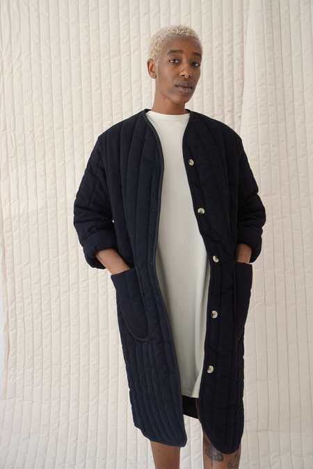 Textilehaus Long Quilted Jacket - Black