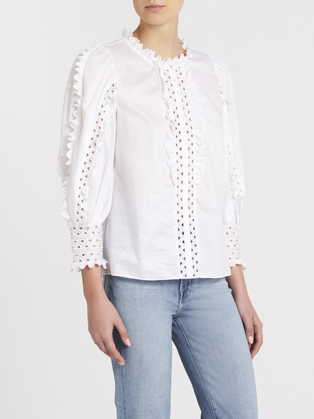 Rebecca Taylor Petal Embroidered Top - Milk