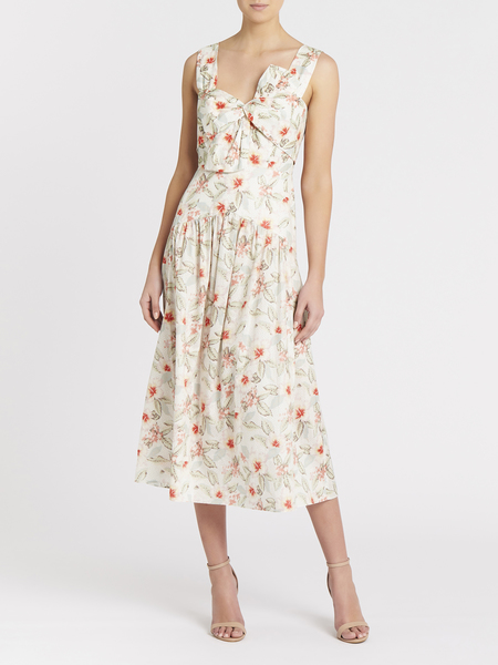 Rebecca Taylor Kamea Fluer Bow Dress - Snow Combo