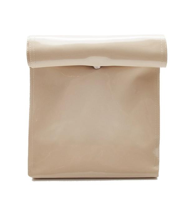 SMK Foldover Bag in Beige Vinyl