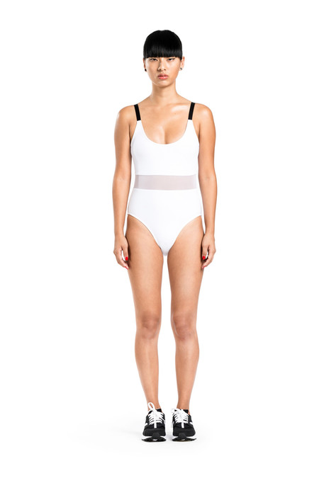 BETH RICHARDS Agnes One Piece - White FEMININE ONE PIECE WITH MESH WAIST AND ADJUSTABLE STRAPS