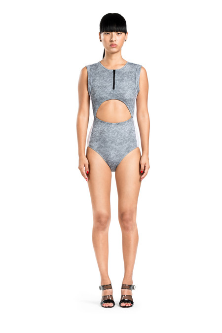 BETH RICHARDS Elle One Piece - Grey Heather SPORTY ONE PIECE WITH ROLLED SLEEVES, FRONT AND BACK CUT OUT AND FRONT ZIP