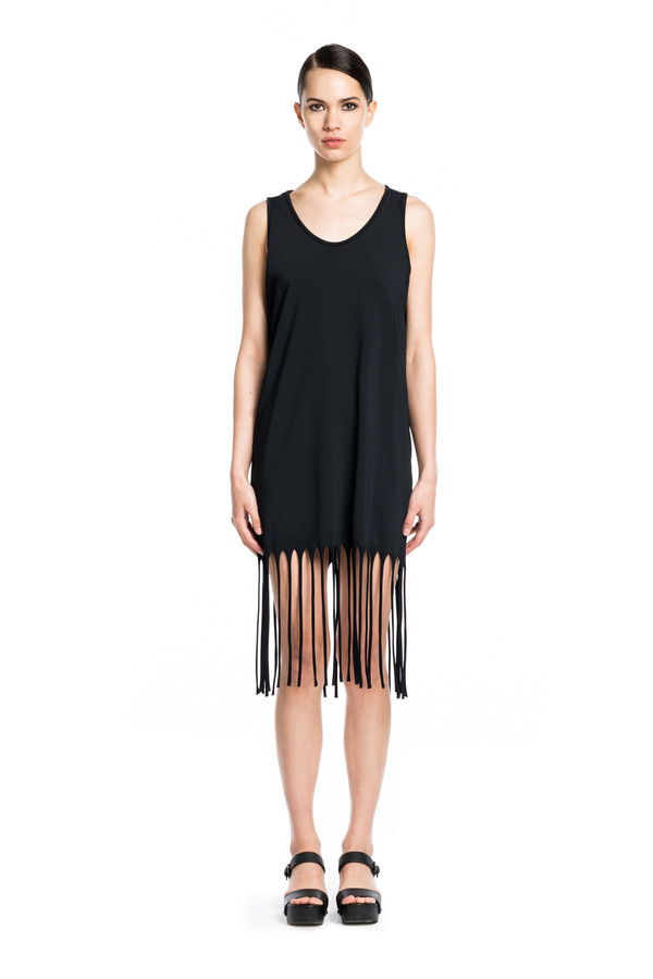BETH RICHARDS Fringe Dress - Black MINIMAL SHIFT PULLOVER DRESS WITH FRINGE DETAIL ALONG HEM