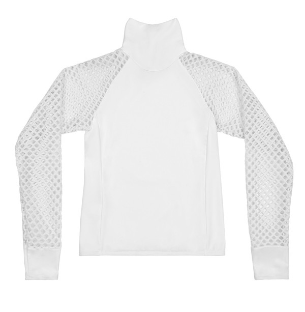 BETH RICHARDS T.H.P. Cara Top - White TURTLE NECK RASH GUARD WITH MESH SLEEVES