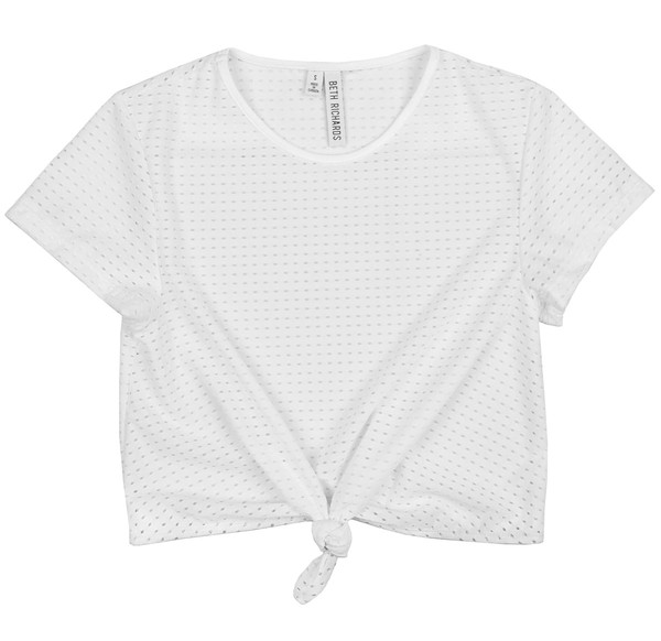 BETH RICHARDS T.H.P. Mesh Crop Tee - White KNOTTED MESH T-SHIRT WITH LOGO ON BACK