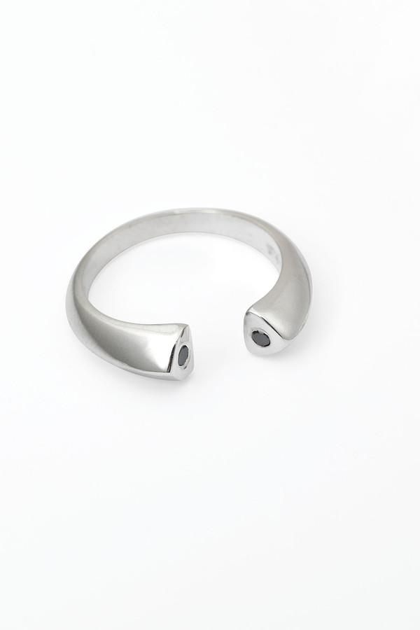 Slight Jewelry Black Diamond Ring in Sterling Silver