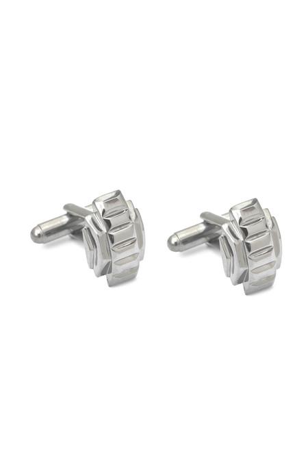 Men's Slight Jewelry Deco Cufflinks in White Platinum Plated Brass
