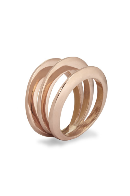 Slight Jewelry Split Dome Ring in 14k Rose Gold Plated
