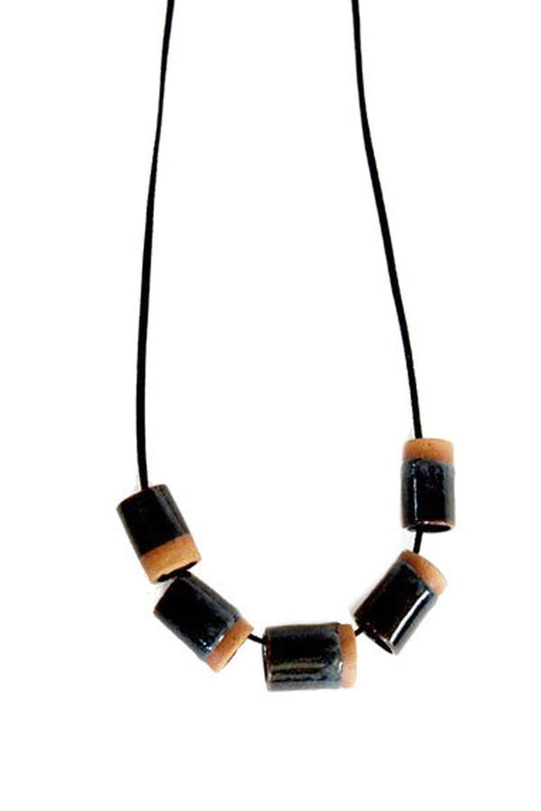 Maple + Mauve Ceramic Dipped Necklace in Black