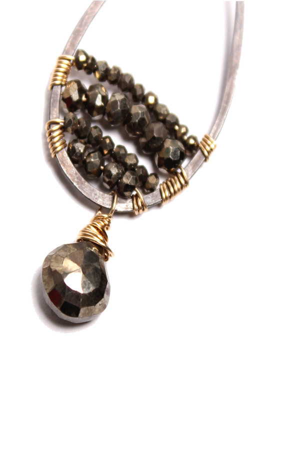 Pyrite Drop Hoop Earrings