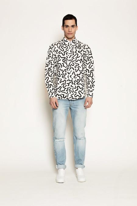 Men's Soulland Ameba Shirt with Allover Print in Black/White