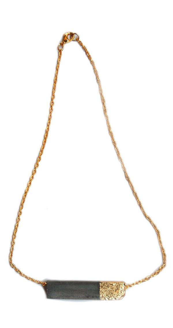 Maple + Mauve Gold Leaf Rectangle Necklace