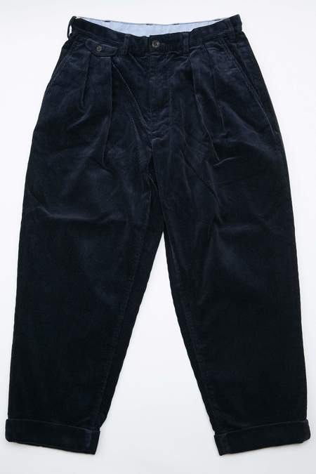 Beams Plus 2Pleats Corduroy Pant - Navy