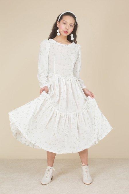Samantha Pleet Ophelia Embroidered Silk Velvet Dress - White