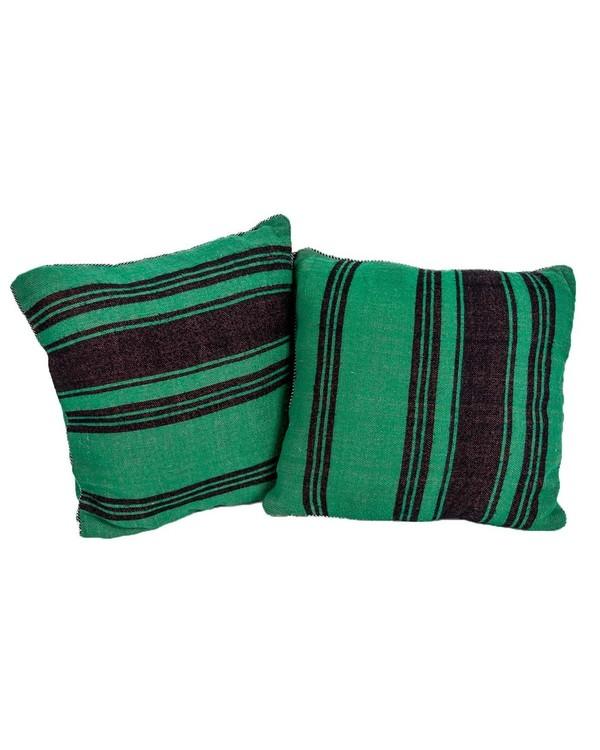 Vintage Green Striped Moroccan Kilim Pillow