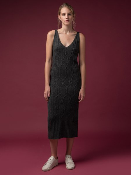 Pure Cashmere NYC Maxi Sleeveless Patterned Dress - Graphite