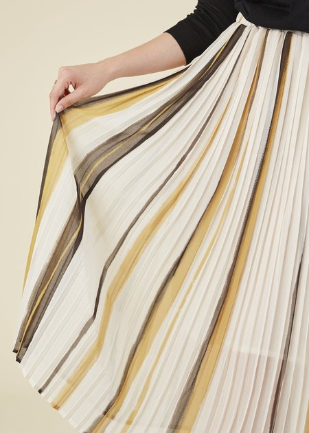 Yoshi Kondo Lily Pleated Skirt - Cream/Brown