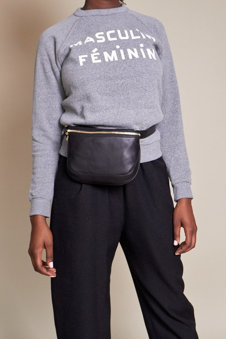 Clare V. Fannypack - Black Velvet Leather