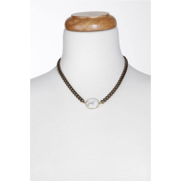 Lisbeth Mave Howlite Bezel Necklace