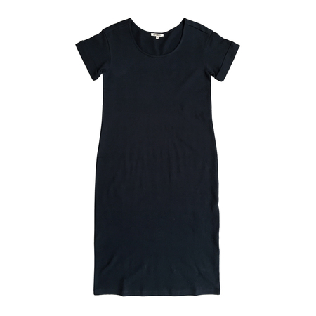 Ali Golden ROLL-SLEEVE T-SHIRT DRESS - BLACK
