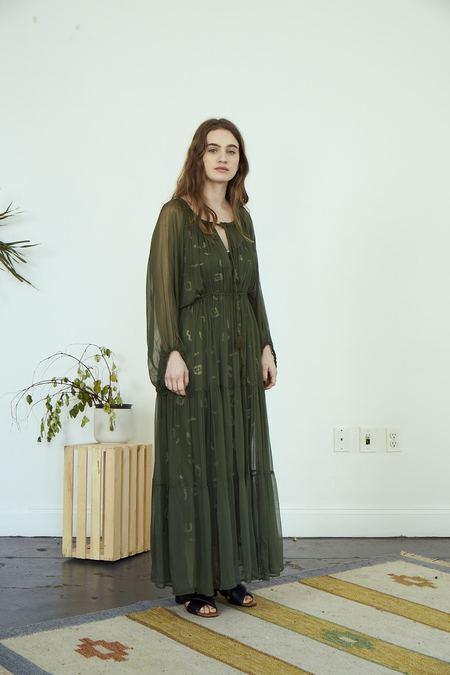 RUJUTA SHETH Frida Gathered Dress - Olive
