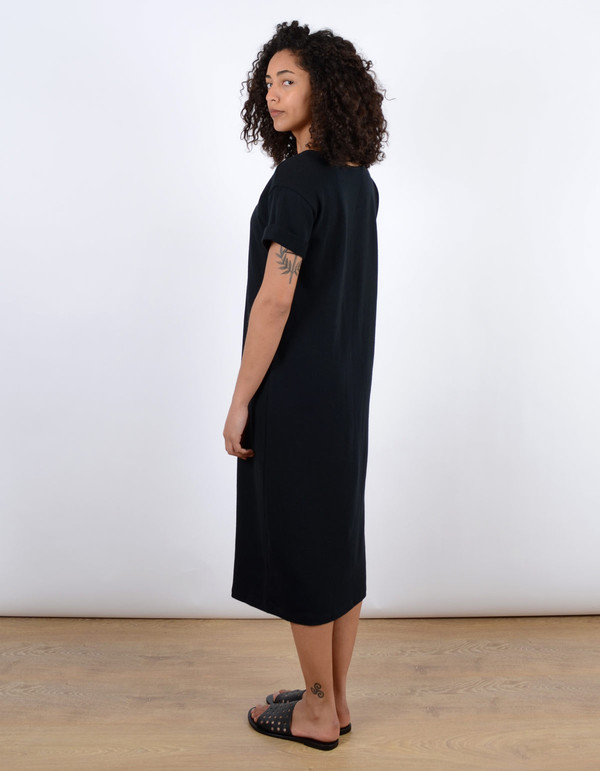 Ali Golden Roll Sleeve Tee Dress Black