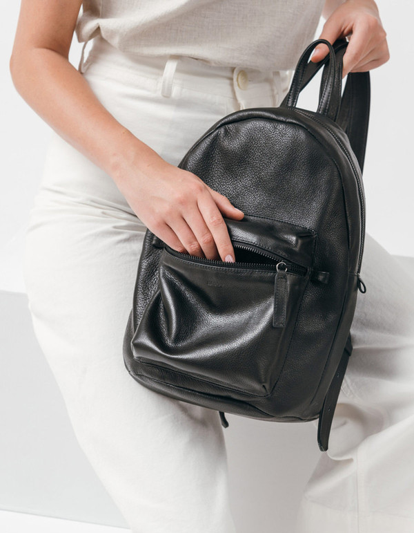 Baggu Leather Backpack Black