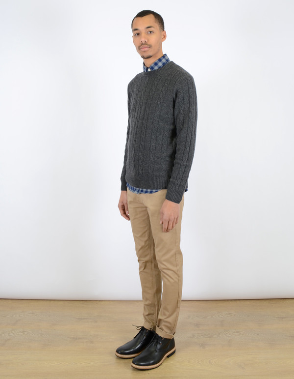 Ben Sherman Cable Crew Sweater Granite Marl