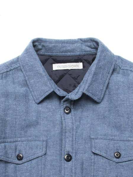 Outerknown Transitional Flannel Shirt Jacket - Blue Herringbone