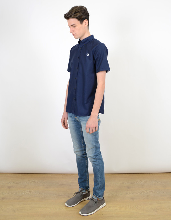 Fred Perry Classic Twill Short Sleeve Shirt Navy