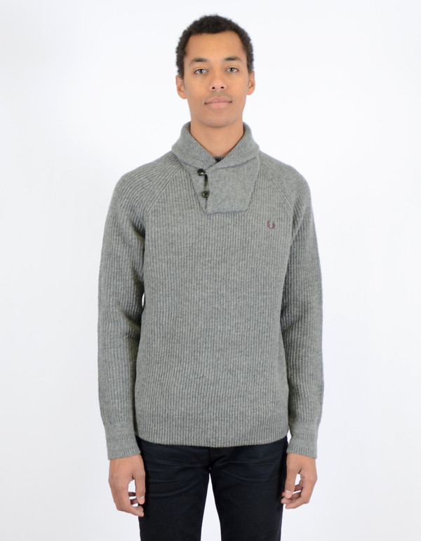 Men's Fred Perry Fishermans Shawl Collar Sweater Grey