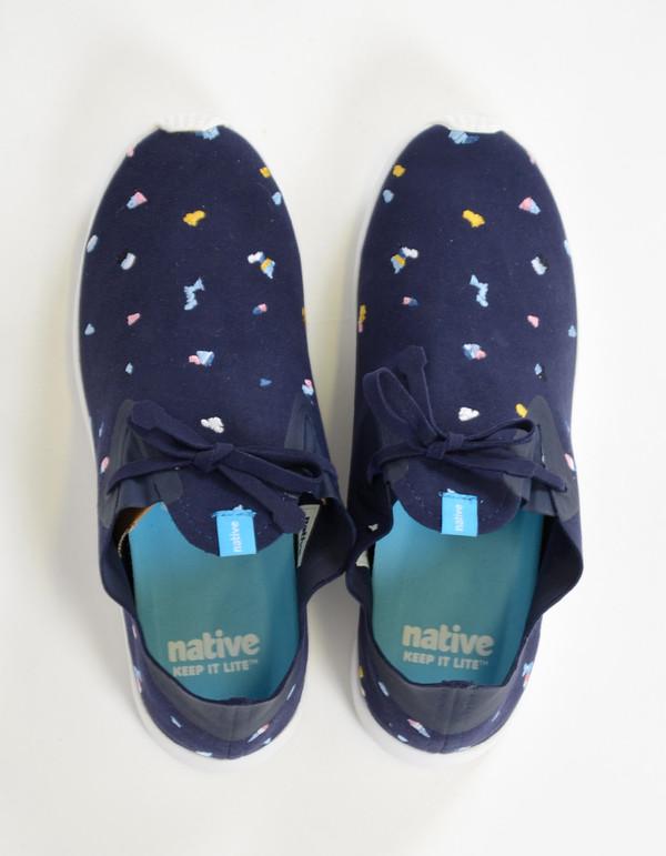 Native Shoes Native Apollo Moc Embroidered Regatta Blue Shell White Chipped Cabo
