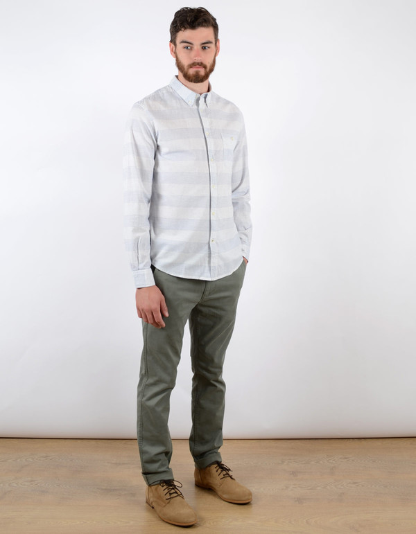 Men's No Nationality New Derek Stripe Shirt Blue White