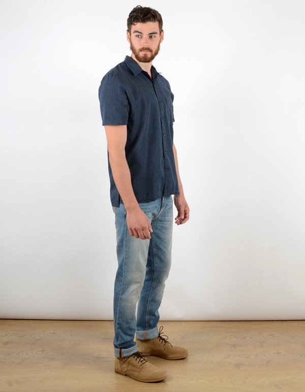 Men's Nudie Brandon Cross Shirt Indigo