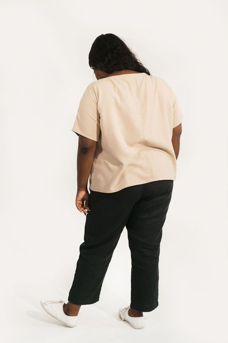Two Fold Clothing Krissy Raw Silk Tee - Sand